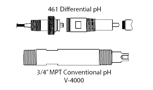 461 Differential pH and 3/4 Inch MPT Conventional pH V-4000